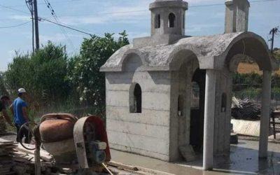 Τσιμεντένιο μεγάλο εκκλησάκι στον Βόλο – Κατασκευή